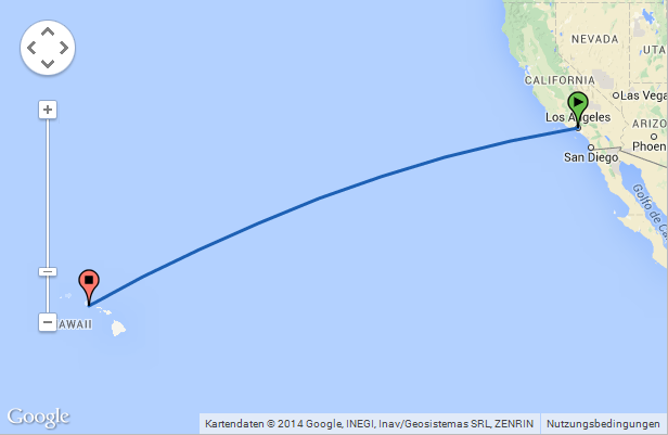 The Flight Distance From Los Angeles California To