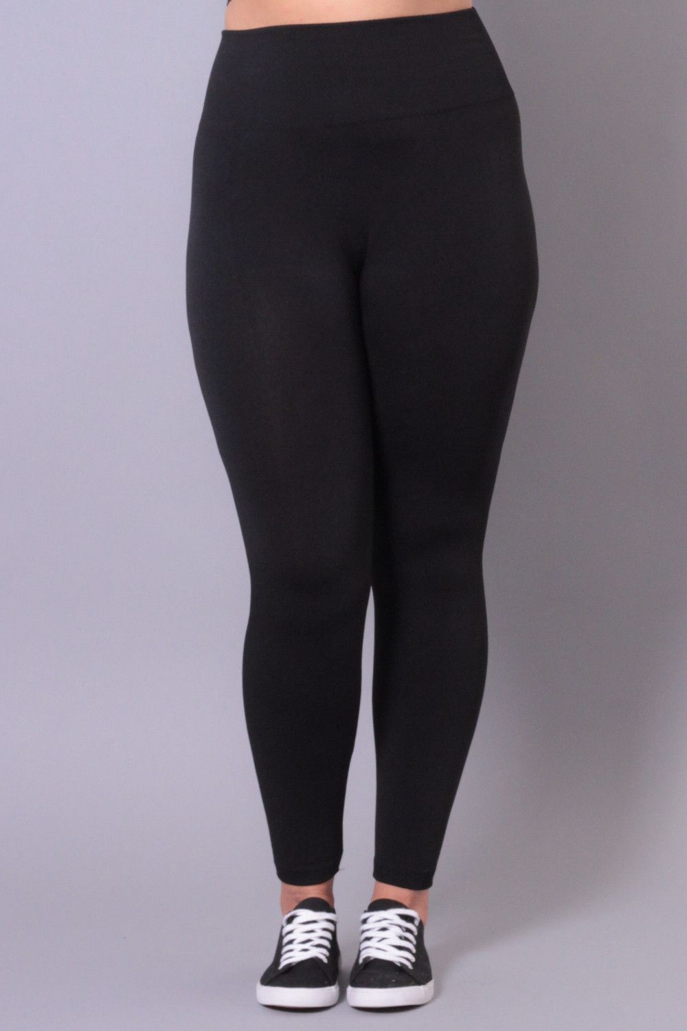 Plus Size Knit Leggings - Black