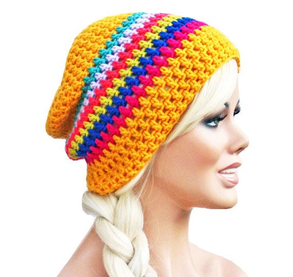 Crochet Slouch Rainbow and Yellow- Ultimate Slacker Striped Beanie Hat