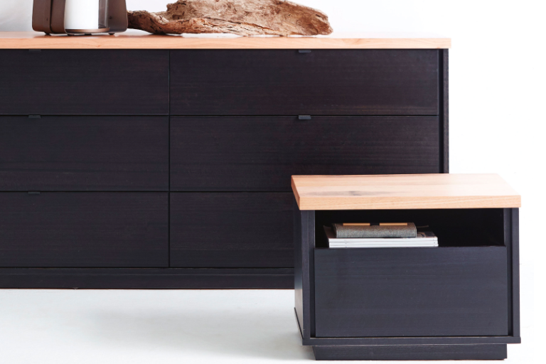 Timber top, black front and sides