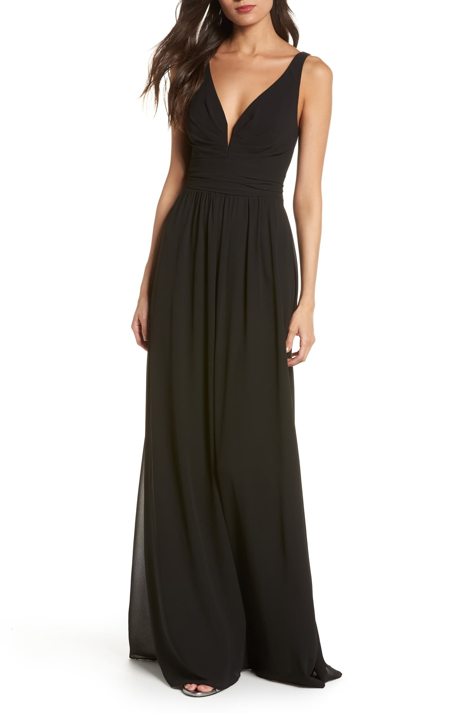 DRESS the POPULATION Bridal Black Iris High Slit V-Neck Stretch Crepe Gown M 8