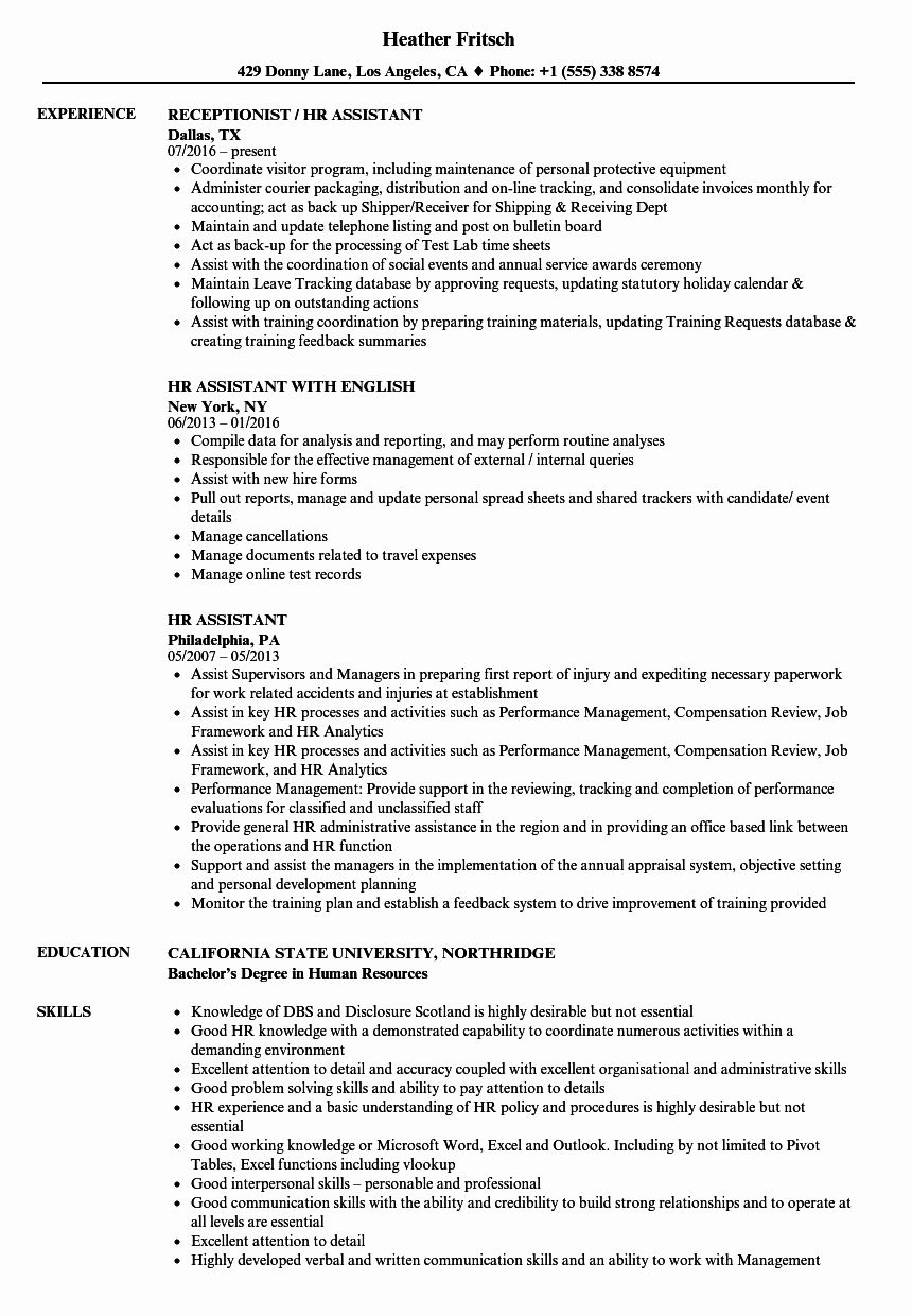 20 Human Resources assistant Resume in 2020 Resume