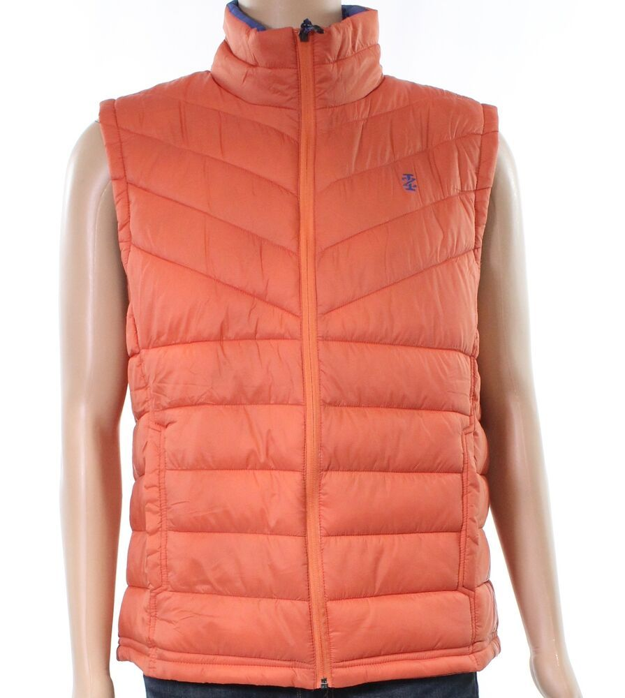 Izod New Orange Blue Mens Size Large L Two Tone Vest Puffer Jacket 55 029 Fashion Clothing Shoes Accessories Mensclothi Jackets Mens Jackets Quilted Vest [ 1000 x 895 Pixel ]