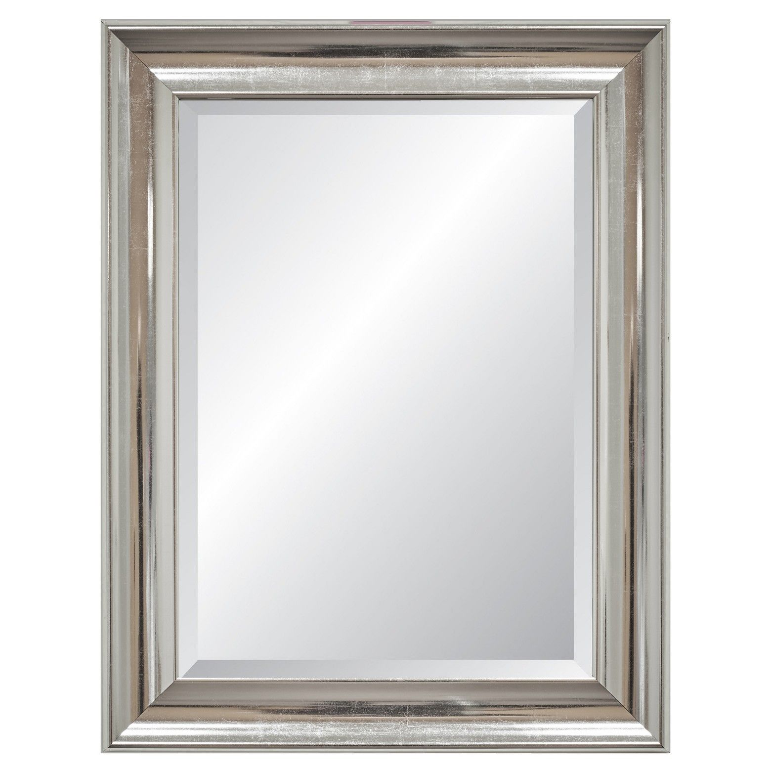 Rectangle Elevation Beveled Decorative Wall Mirror With Silver Frame