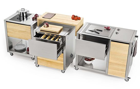 the Cun kitchen by Italian brand Joko Domus is based on a modular - mobile mini outdoor kuche grill party