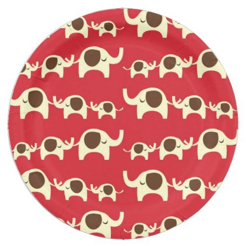 Red Retro Elephants Paper Plate | Circus Birthday Party | Pinterest | Circus birthday and Birthdays  sc 1 st  Pinterest & Red Retro Elephants Paper Plate | Circus Birthday Party | Pinterest ...