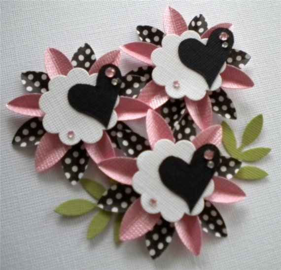 set of 3 paper flowers pink and black  love  flower