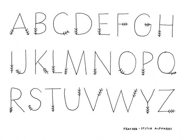 Cute alphabet, letters look like feathers on a arrow via ...