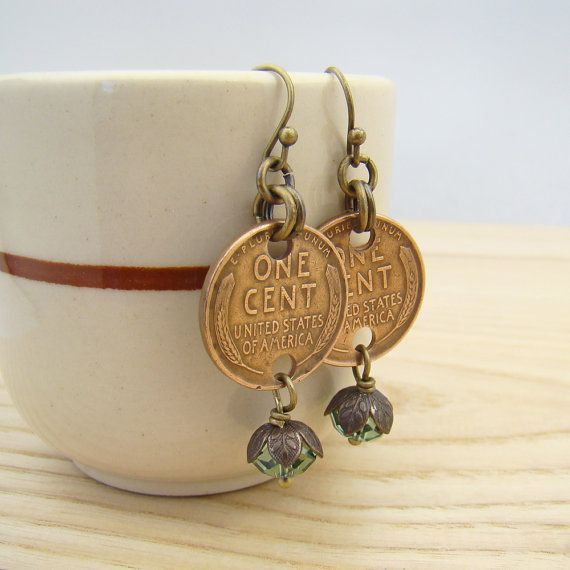Wheat penny earrings with green Swarovski crystal beads by laurelmoonjewelry, $14.00