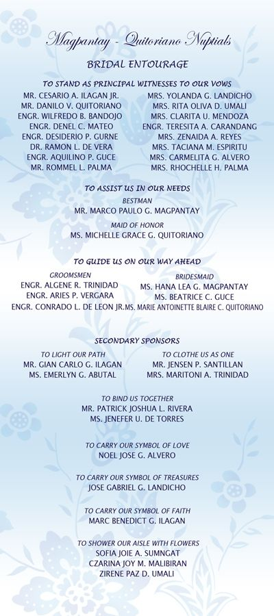 Wedding List on Bridal Entourage List invitation ideas - sample list