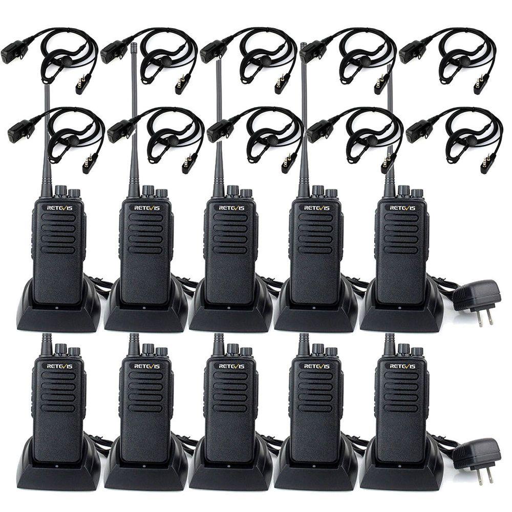 5xRETEVIS RT1 Walkie Talkies 10W UHF VOX Scrambler 16CH Radio+USB US 400-520MHz