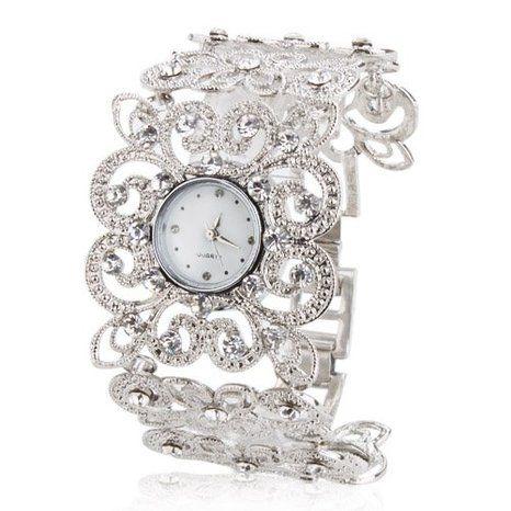 14f22b88f3c52 LightInTheBox Top Discount Women's Fashionable Alloy Analog Quartz Bracelet  Flower-shaped Watch (Silver): Amazon.ca: Montres