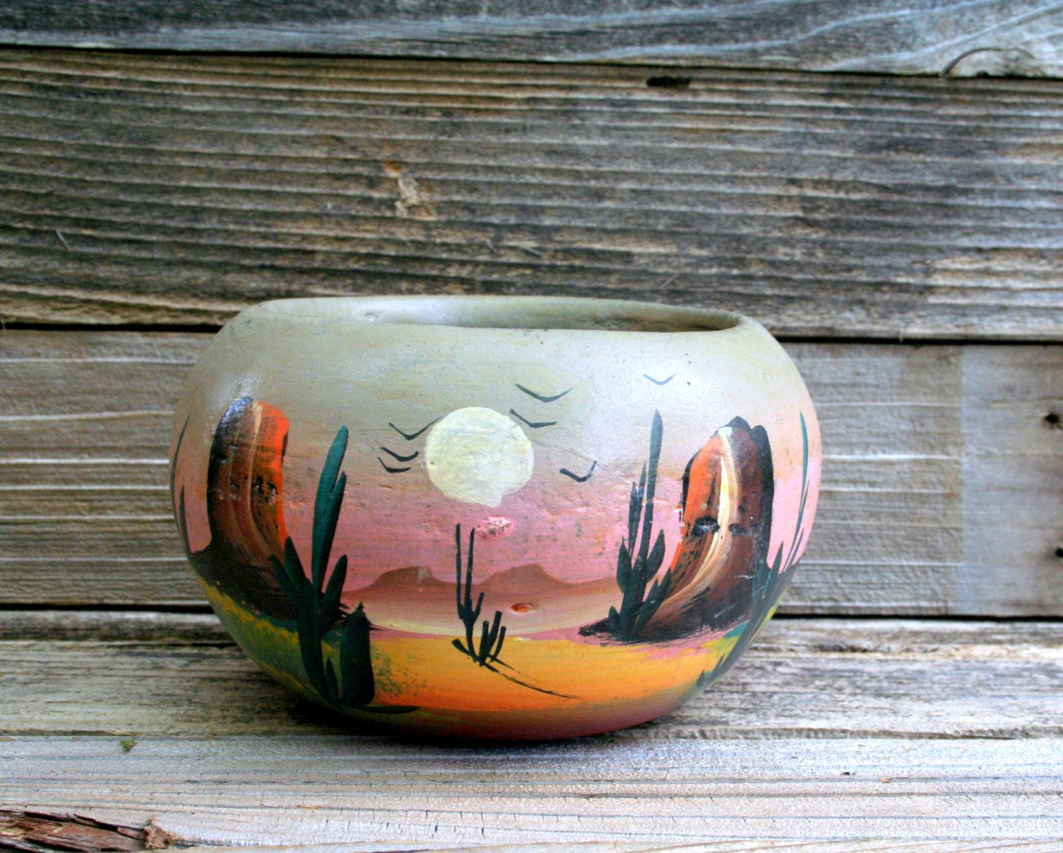 Vintage hand painted mexican clay pot di for Arredamento stile messicano