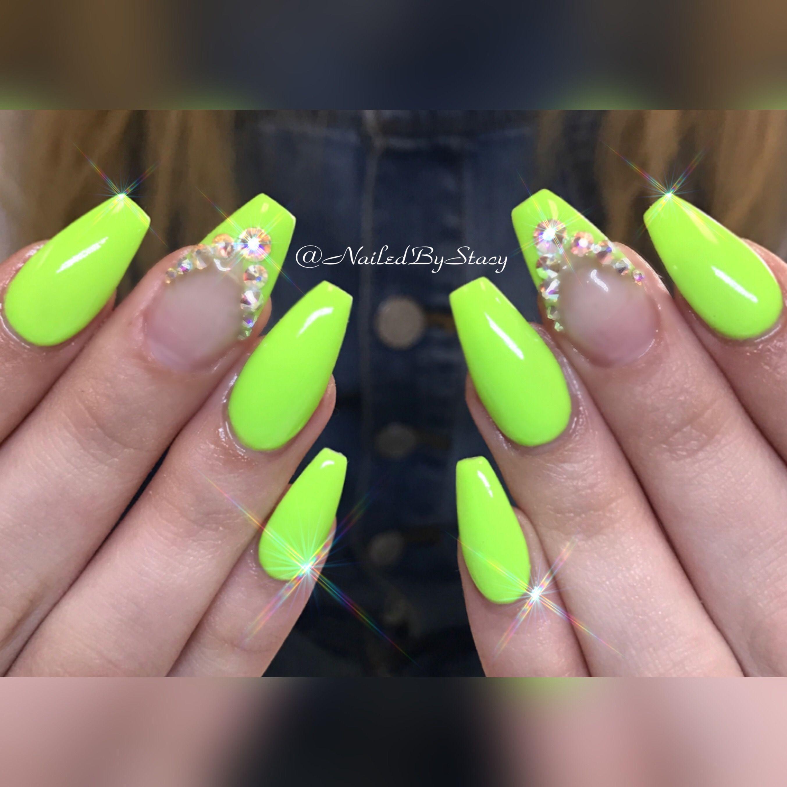 Neon Lime Green Ballerina Nails Green Nails Nails Neon Nails