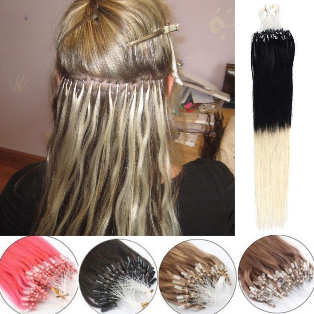 Easy Loop Micro Ring Bead Ombre Hair Remy Human Hair Extensions