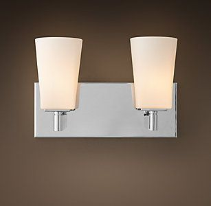 All bath lighting rh dotson basement pinterest bath light rh modern double sconcewith its squared edges and bull nose finials our modern collection pares bath design down to elegant elemental form mozeypictures Gallery