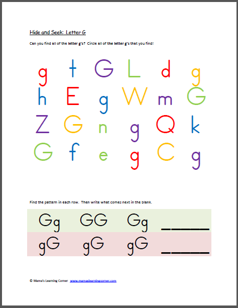 hide and seek letter g pre k and early k preschool worksheets letter g alphabet worksheets. Black Bedroom Furniture Sets. Home Design Ideas