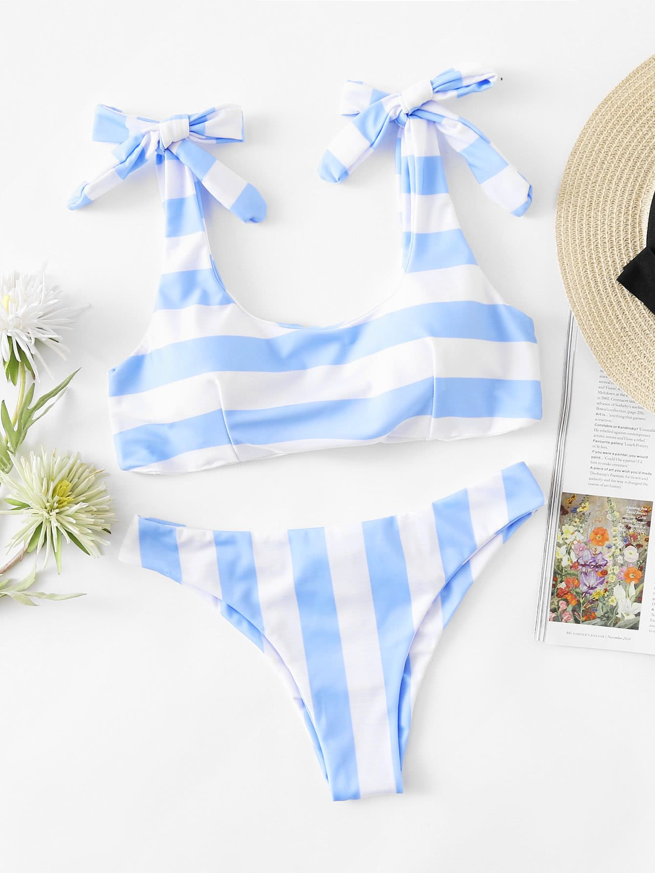 ce8efe70ffd40 Blue and white seaside stripe bikini inexpensive swimsuit cheap two piece  swimwear that is modest scoop neck with bow tie straps light blue preppy ...