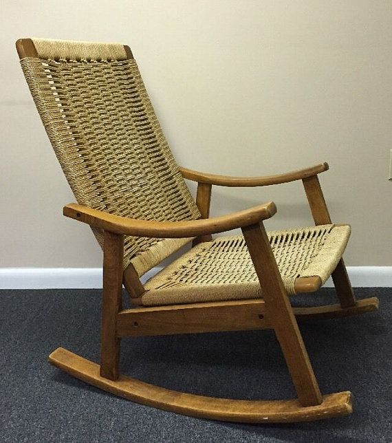 Beautiful $395   Vintage Danish Modern Rope Rocking Chair Mid Century Eames Era  Yugoslavia