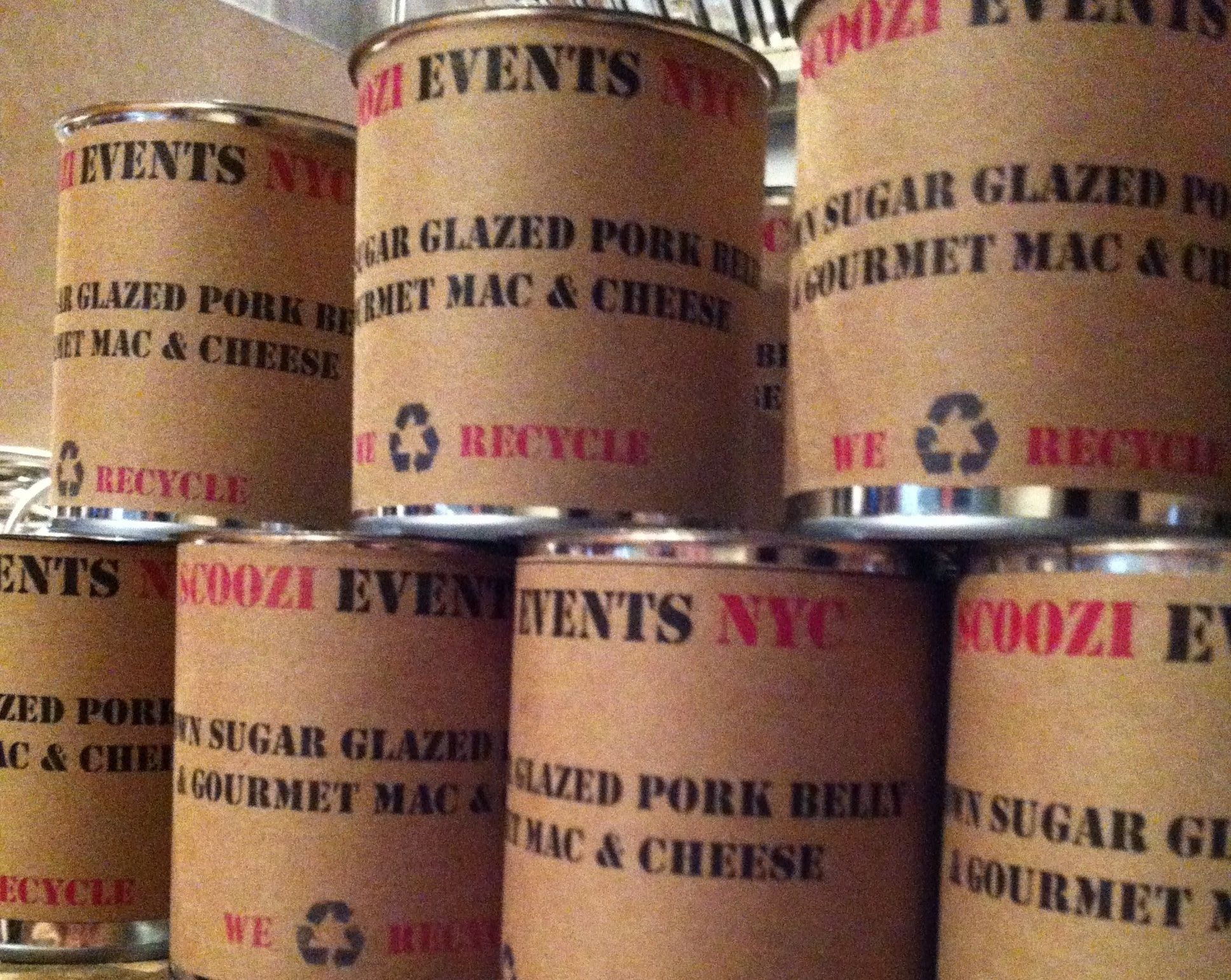 Scoozi's Brown Sugar Glazed Pork Belly and Gourmet Mac and Cheese served in Customized Cans