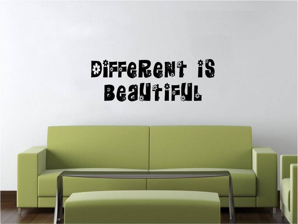 Vinyl Wall Decal Art Saying Decor Quote Different Is Beautiful - Custom vinyl wall decals quotes how to remove