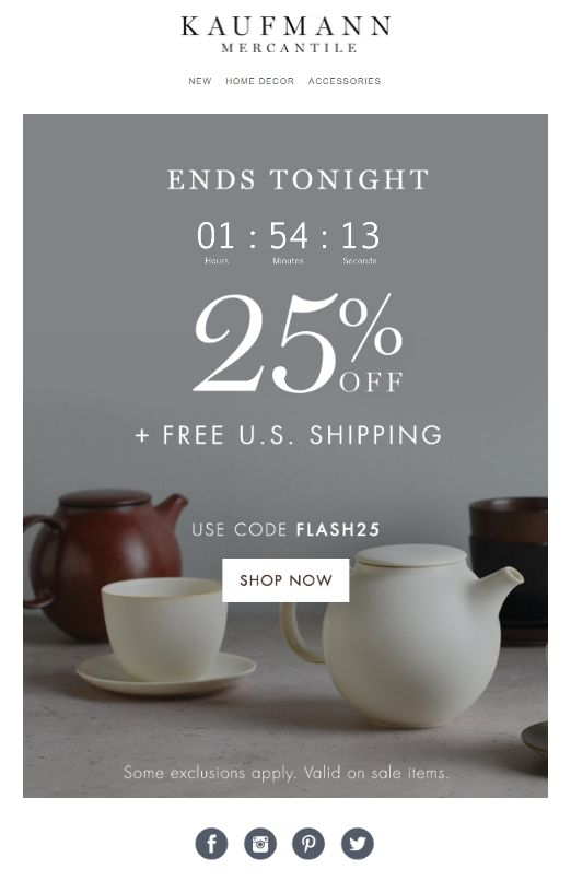 KaufmanMercantile, Email Marketing, Countdown Timers