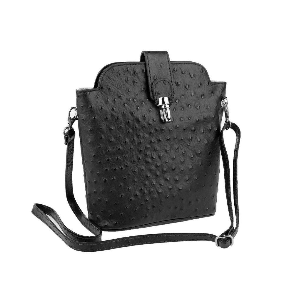 Damen Satchel-Tasche, schwarz Vera Pelle