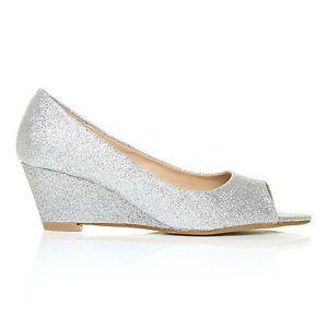 Honey Silver Glitter Wedge MID Heel Peep TOE Shoes   eBay
