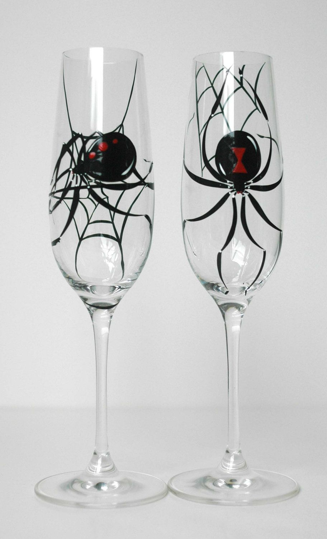 Black Widow Spider Halloween Toasting Flutes Set of 2