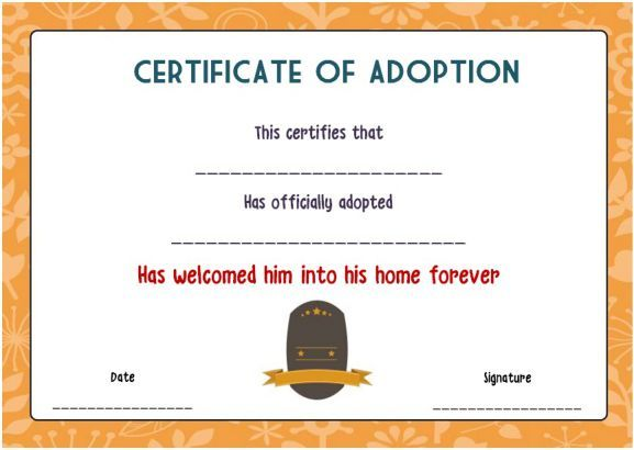 Free Blank Adoption Certificate  Blank Adoption Certificate