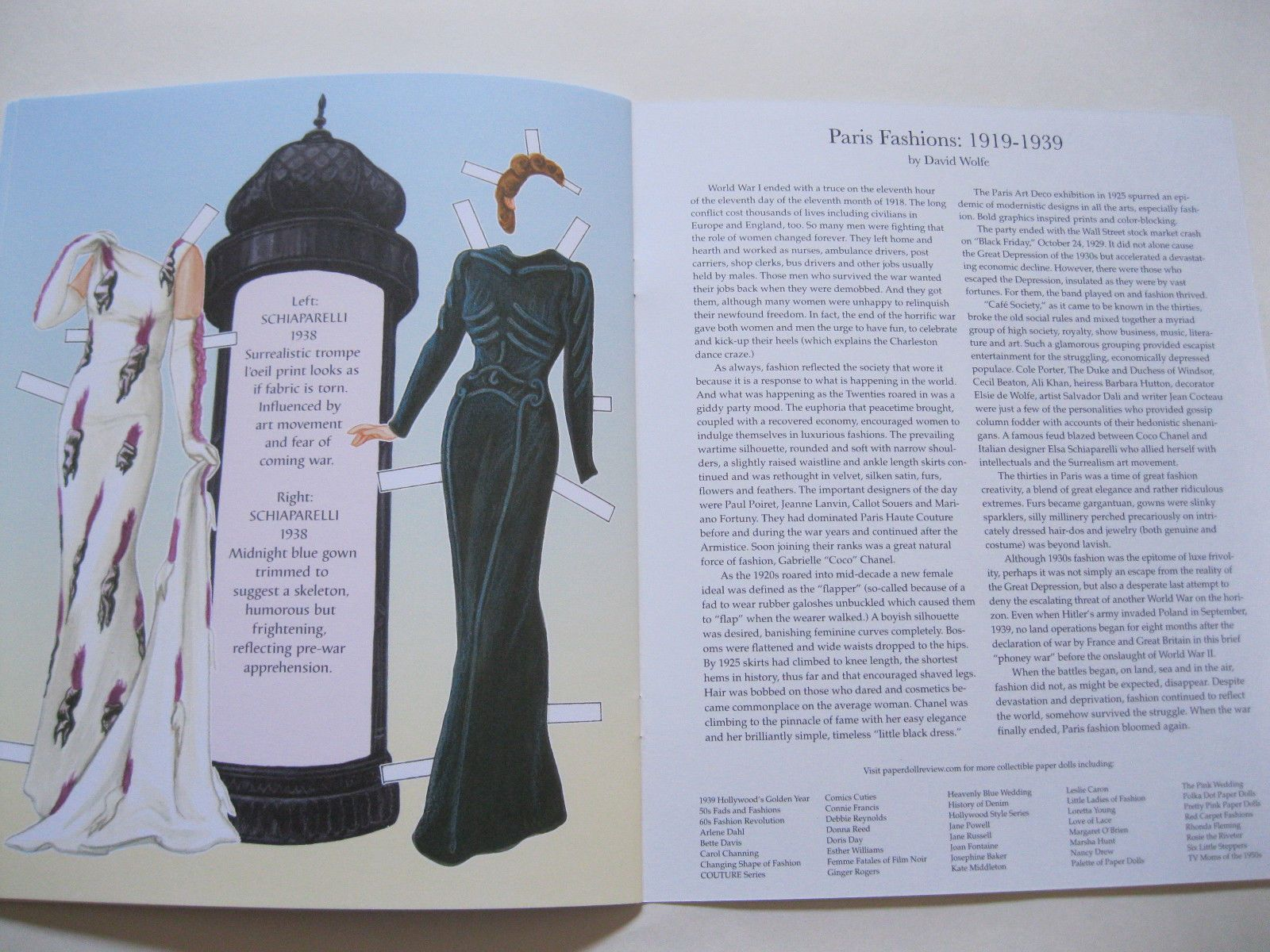Paris fashion paper doll book with french designer styles