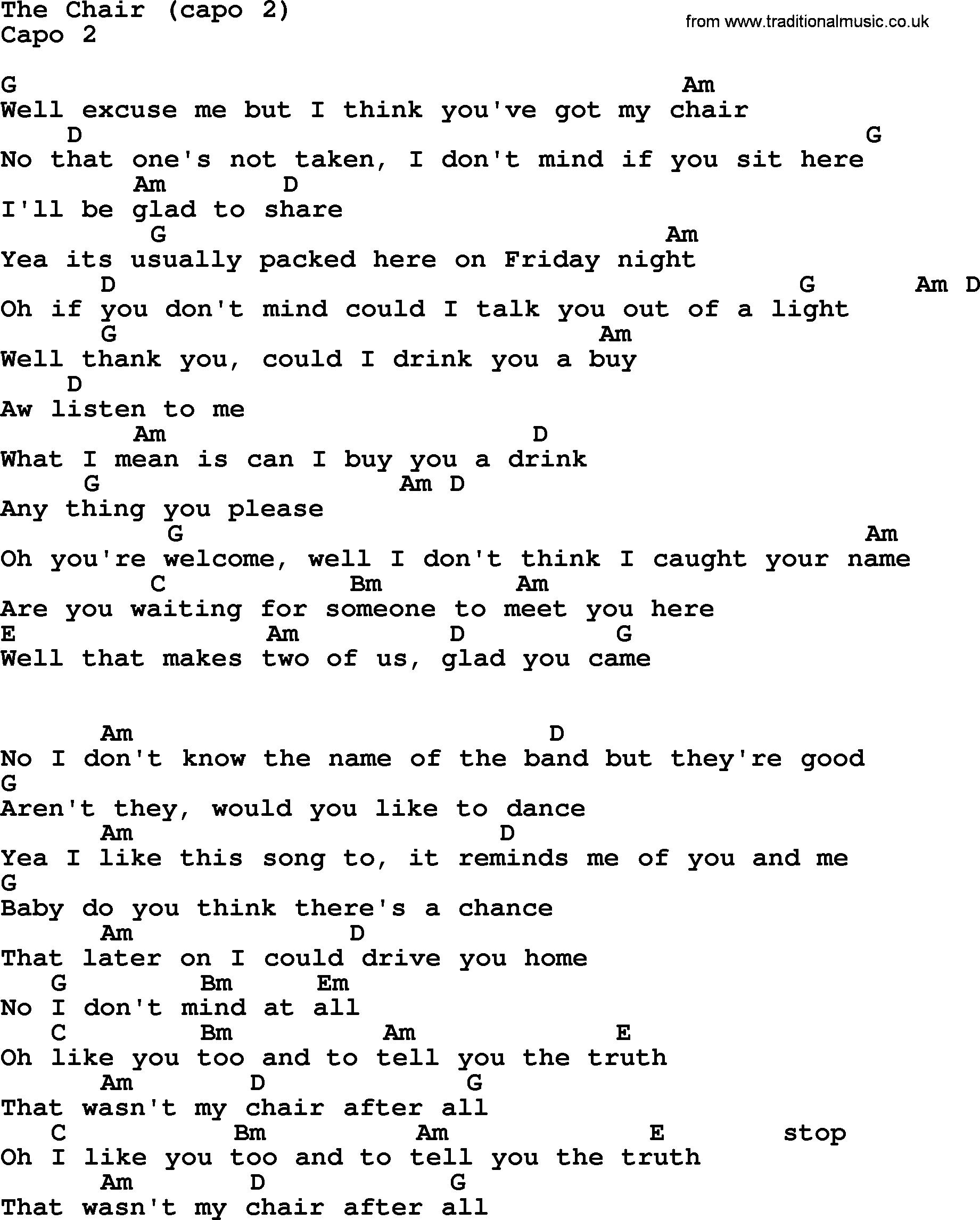 George Strait Song The Chair Capo 2 Lyrics And Chords Ukulele