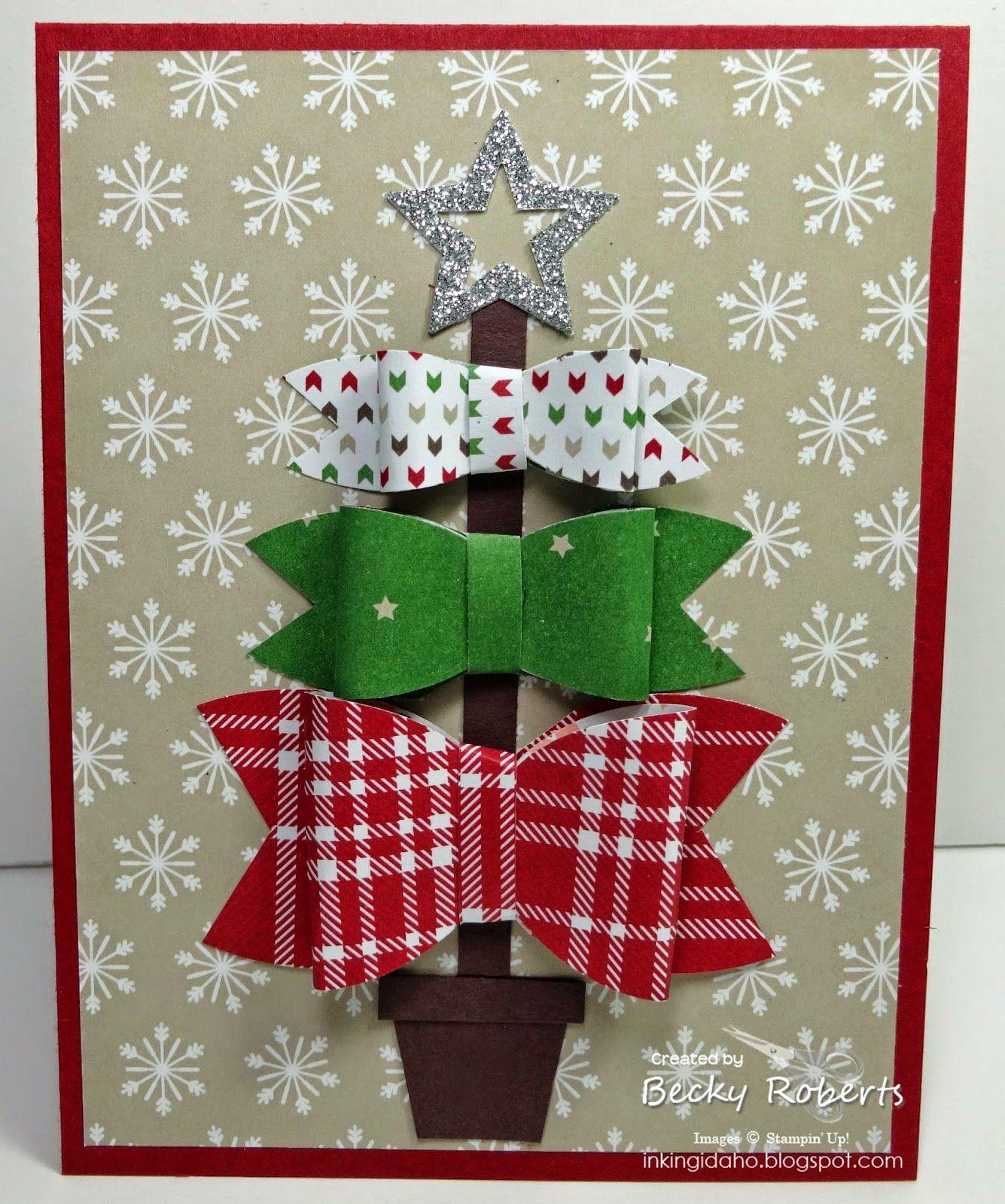 Inking Idaho Trim The Tree Bow Cards Christmas Cards Handmade Christmas Cards To Make Homemade Christmas Cards