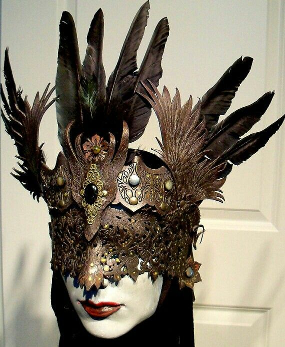 roses witch mask horns masquerade blue gems queen of the woods paper mach\u00e9 mask green lace hand made mask Horns mask