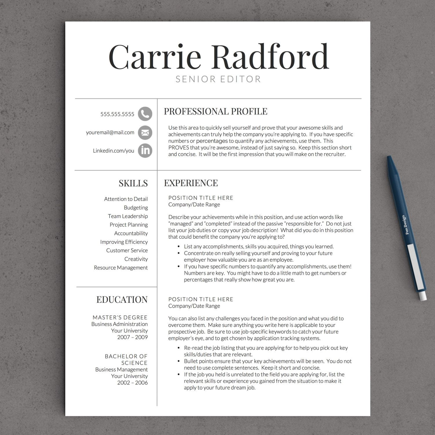 classic professional resume template for word us letter 2 or 3 page resume template icons cover letter tips - Classic Resume Template Word