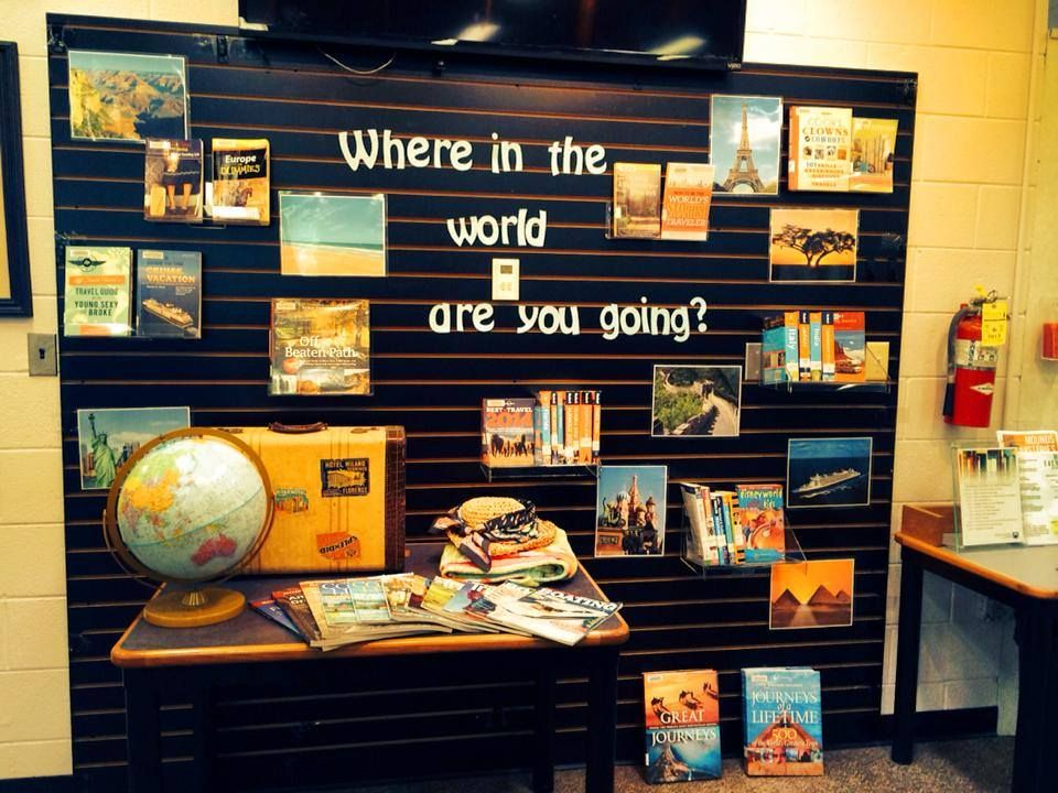 Where in the world are you going?  Adult travel nonfiction book display for public library