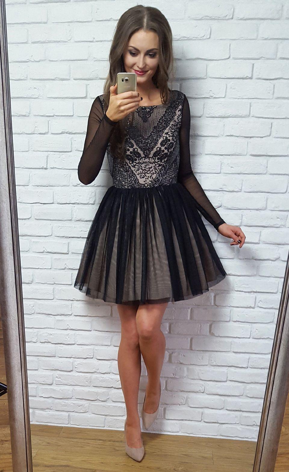29a98f69d4a757 GABRIELLE - TIULOWA SUKIENKA Z DŁUGIM RĘKAWEM | Illuminate Sukienki ...