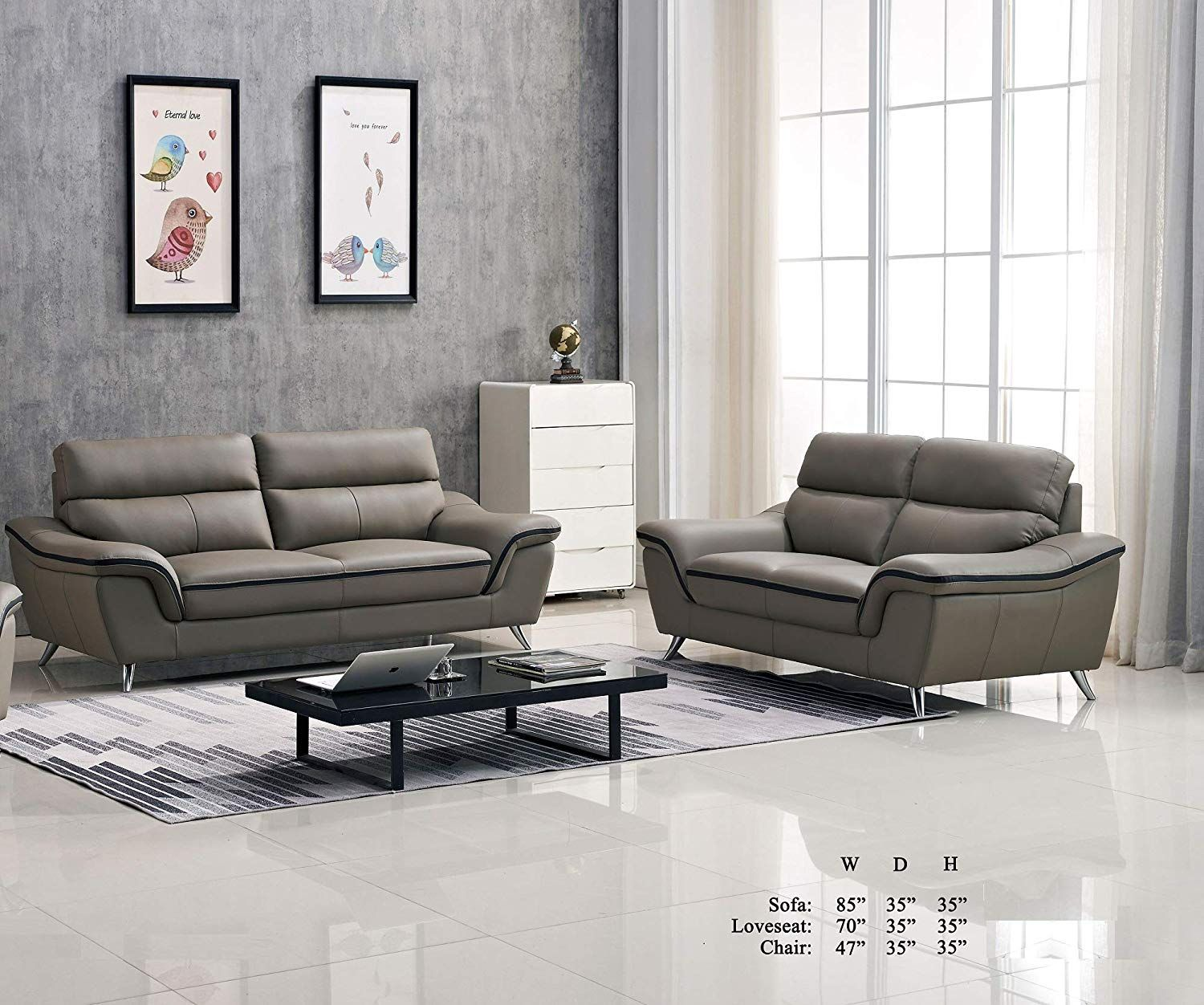 Gorgeous Contemporary Living Room Furniture 2pc Sofa Set Gray Leather Air Black Welt Tri Cushions On Sofa Couch And Loveseat Contemporary Living Room Furniture