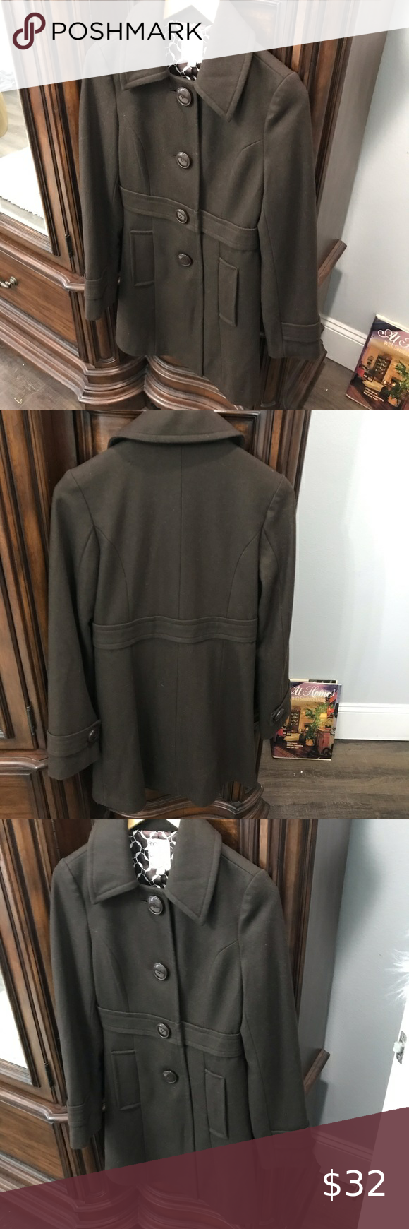 ANTHROPOLOGIE TULLE BROWN PEA COAT. SIZE: SMALL