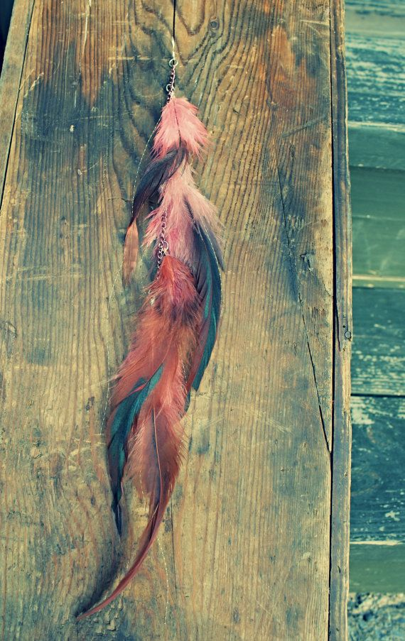 Handmade Single Chain Feather Hair Extension Clip, Pink, Hair Feathers, Iridescent Hair Tinsel 12 long, or single feather earring via Etsy
