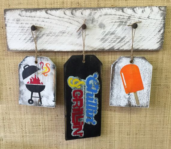 Chillin & Grillin Summer Rustic Large Gift Tags ⊰⊹ These