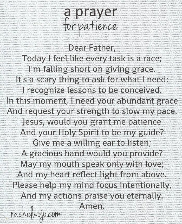 A Prayer For Patience Prayer Pinterest Prayers Prayers For