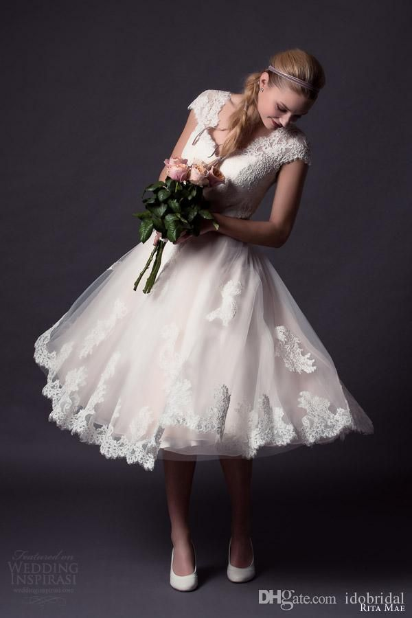 2015 Wedding Dresses with Cap Sleeves Tea Length