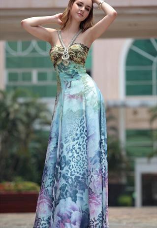 Floral Embellished V-neck  A-line Halter Evening Dress
