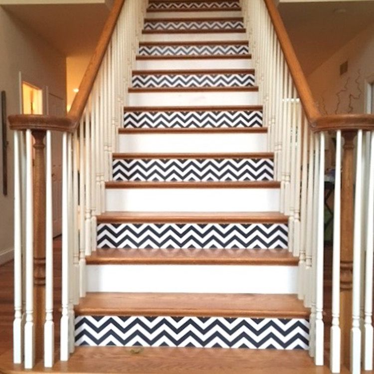 Chevron Self Adhesive Wallpaper Chevron Wallpaper For Bathroom Bedroom Or Living Room Chevrom Wall Art Primedecals Wallpaper Stairs Stairs Diy Staircase