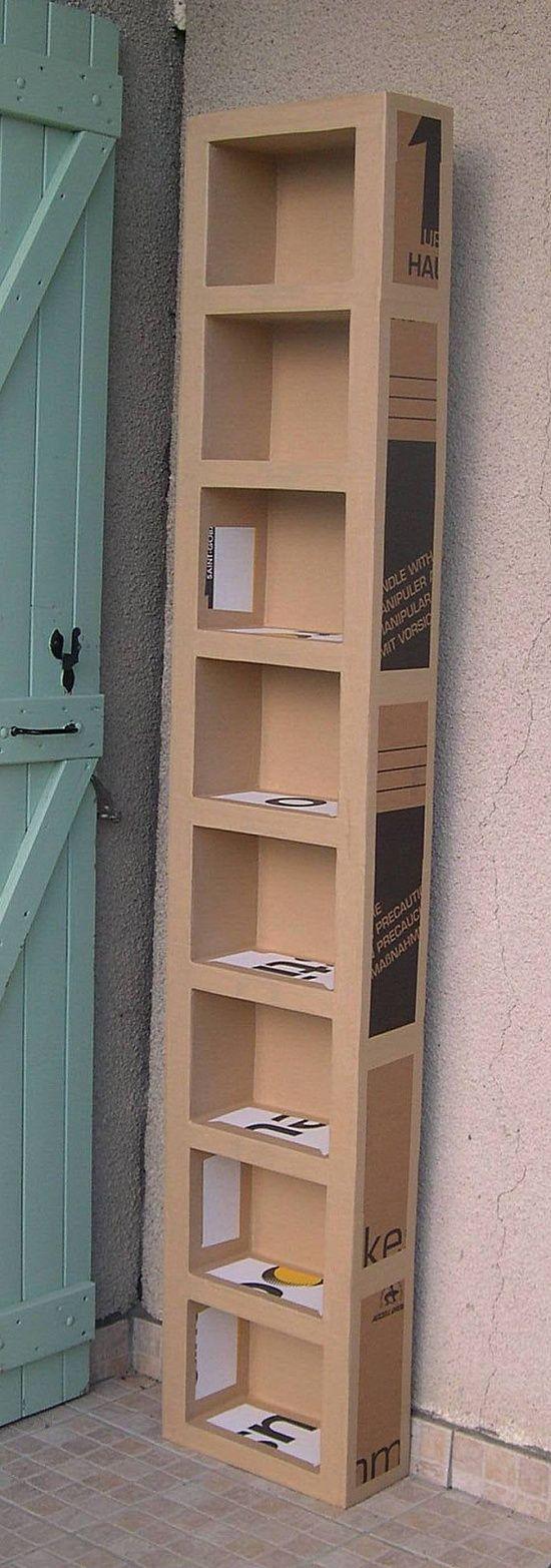 Estante de papel o cacarecos pinterest cart n for Estantes de carton