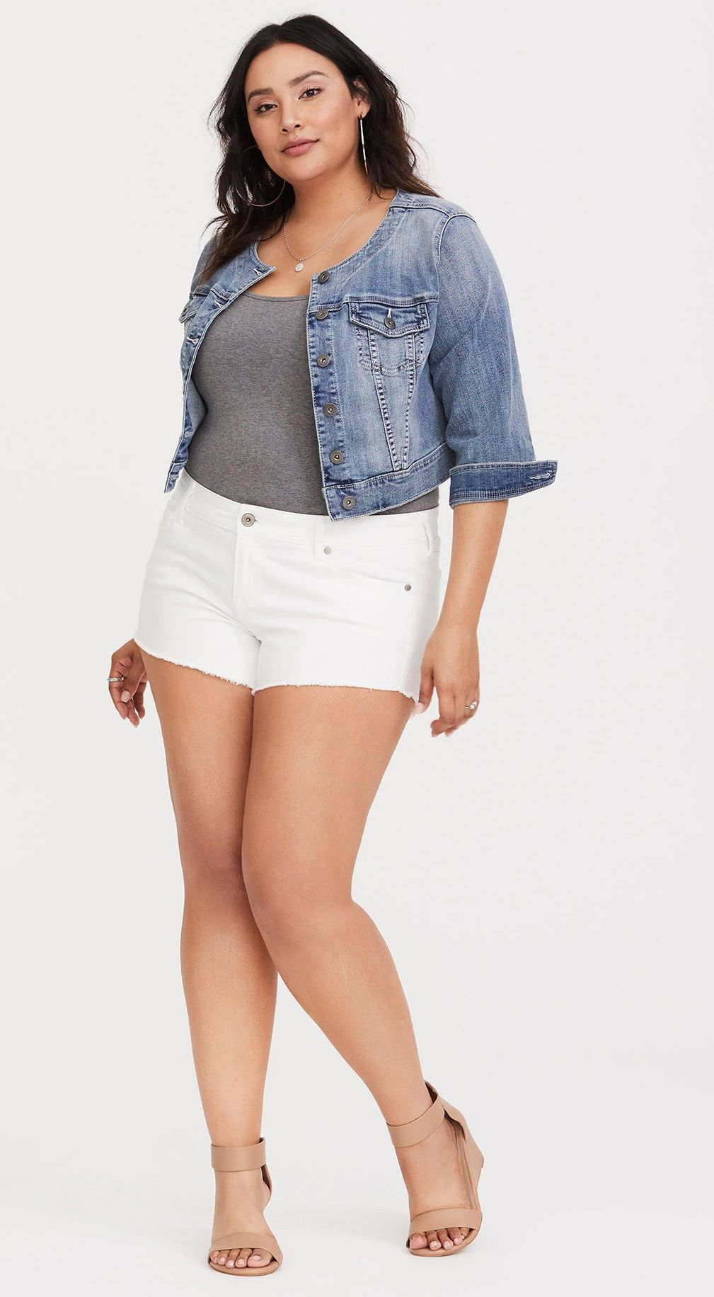80dfed11b3f Plus Size White Shorts Full Figure Fashion