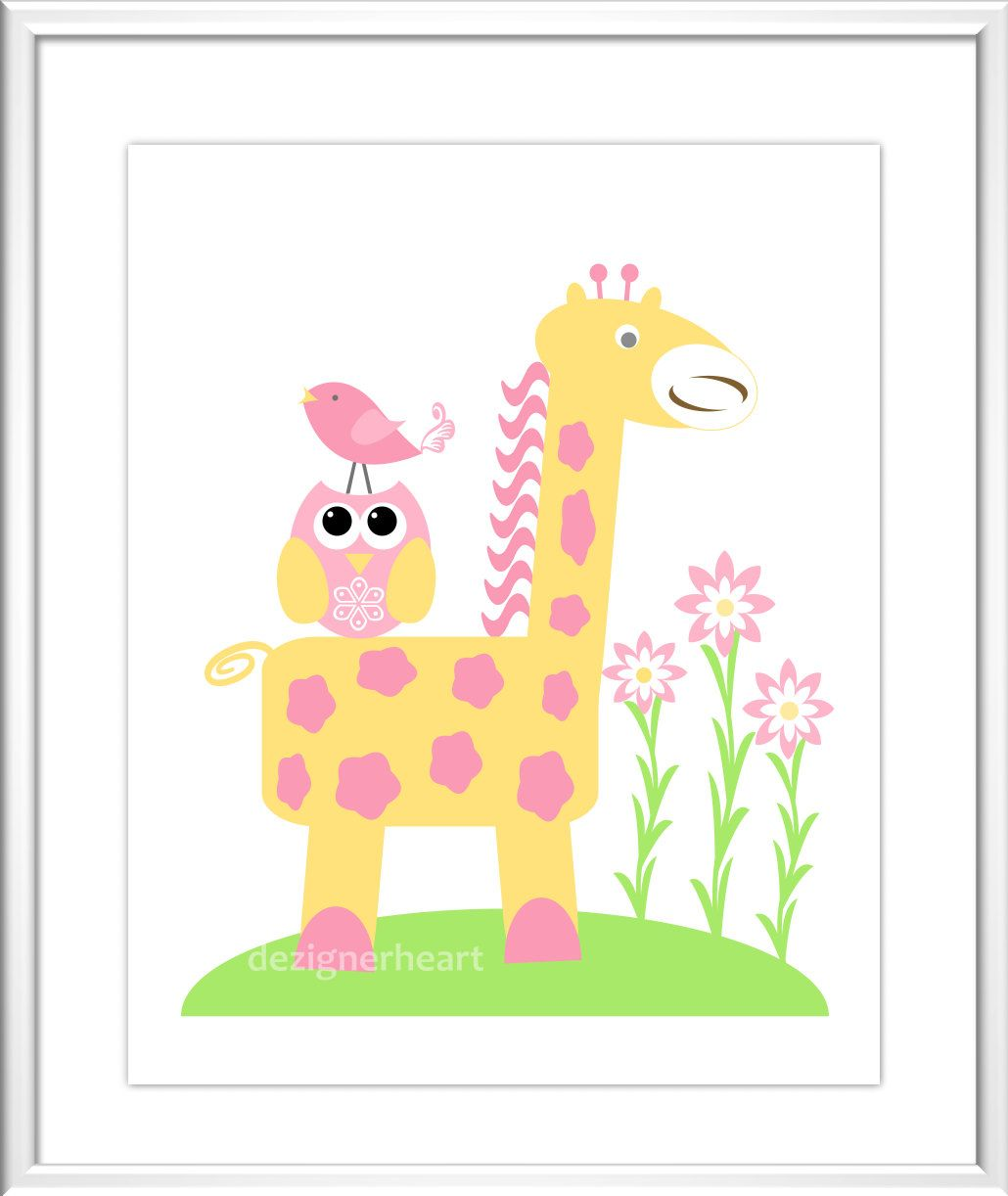 Baby Girl Nursery Art Pink Yellow Elephant Giraffe You Are My ...