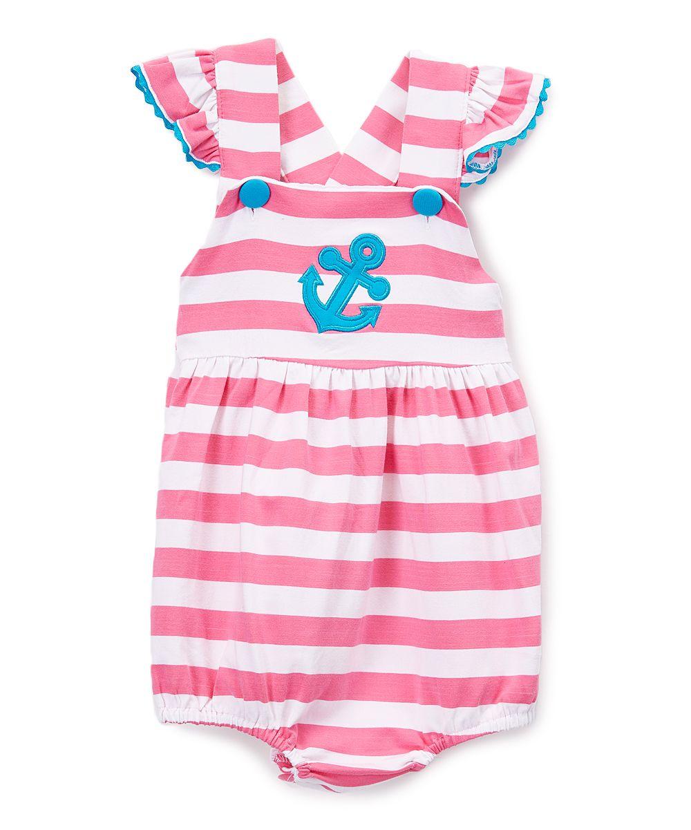 Pink Stripe Anchor Appliqué Bubble Romper - Infant   Toddler  fb18d0a7c