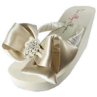 de15c11d9c9d1 Bridal Flip Flops Oatmeal Champagne Satin Bows Wedding Wedge Heel ...